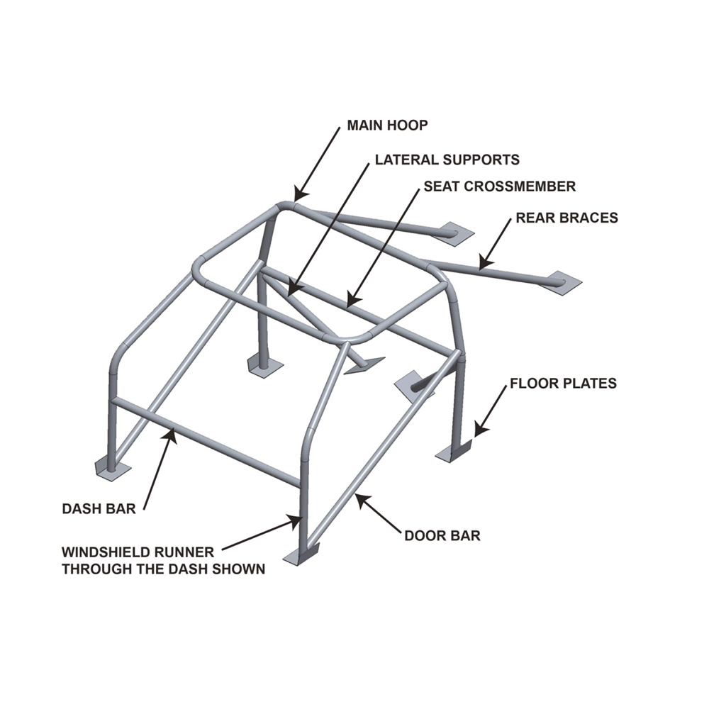 1966-1967 Ford Fairlane & Mercury Comet 10 Point Roll Cage EWS